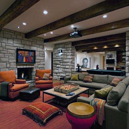 Lounge Rustic Basement Ideas & Top 60 Best Rustic Basement Ideas - Vintage Interior Designs