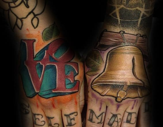 Love And Liberty Bell Hand Tattos On Gentleman