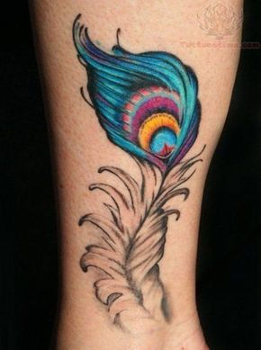 Love Colored Peacock Feather Tattoo