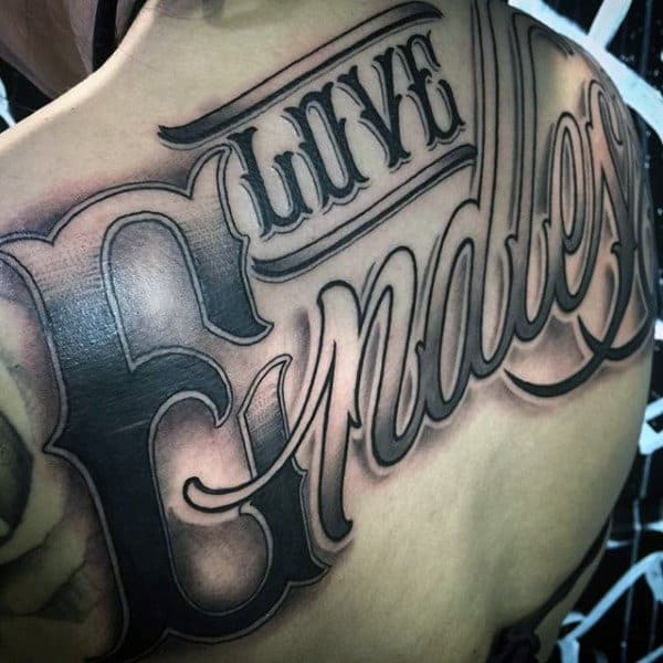 Love Friday Lettering Tattoo Male Back