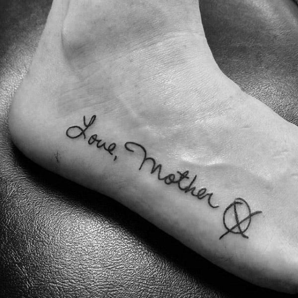 Love Mother Memorial Mens Foot Tattoo With Lettering Design