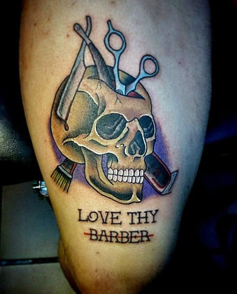Love Thy Barber Skull Tattoo For Men On Thigh