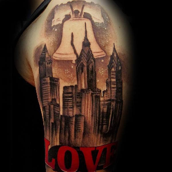 Love With Liberty Bell And Philadelphia Skyline Mens Half Sleeve Tattoo