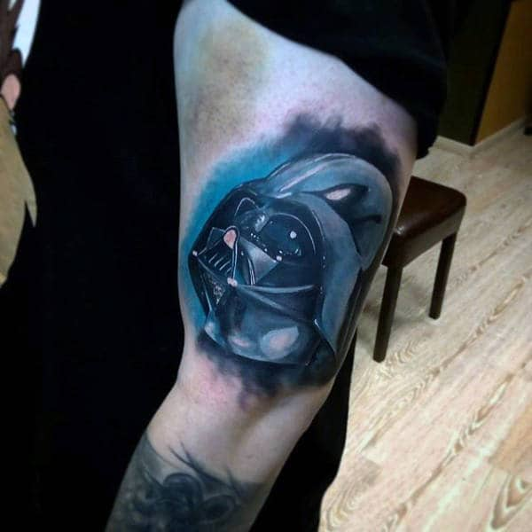 Lovely Blue Darth Vader Tattoo Male Arms