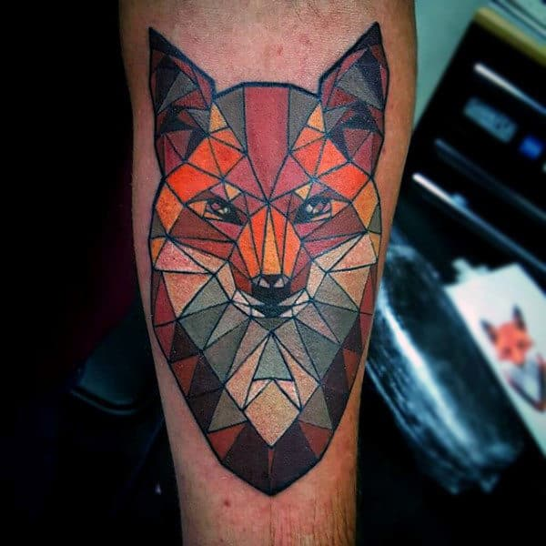 Lovely Colored Geometric Fox Tattoo On Males Neck