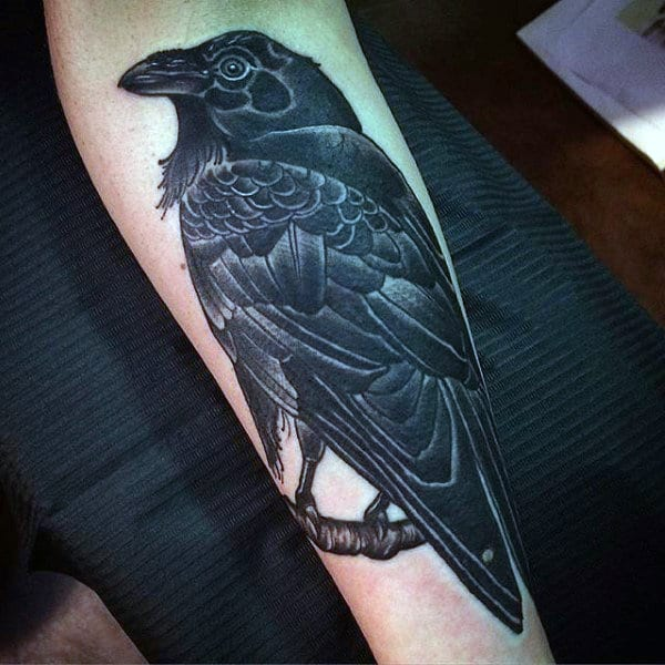 Lovely Dark Raven Tattoo Mens Forearms