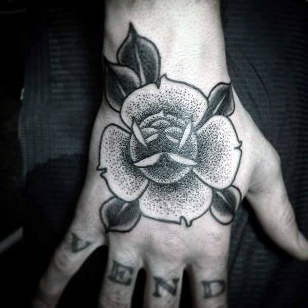 Lovely Dotwork Flower Tattoo Male Hands