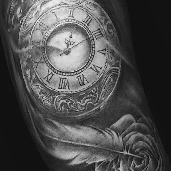 Lovely Feather With Clock And Rose Tattoo On Arms For Men