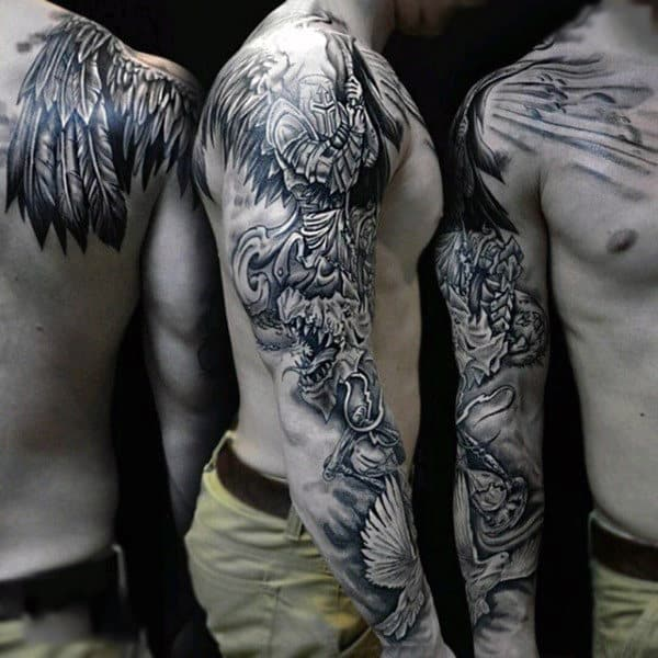 Lovely Feathered Grey And White Warrior Tattoo Male Sleeves