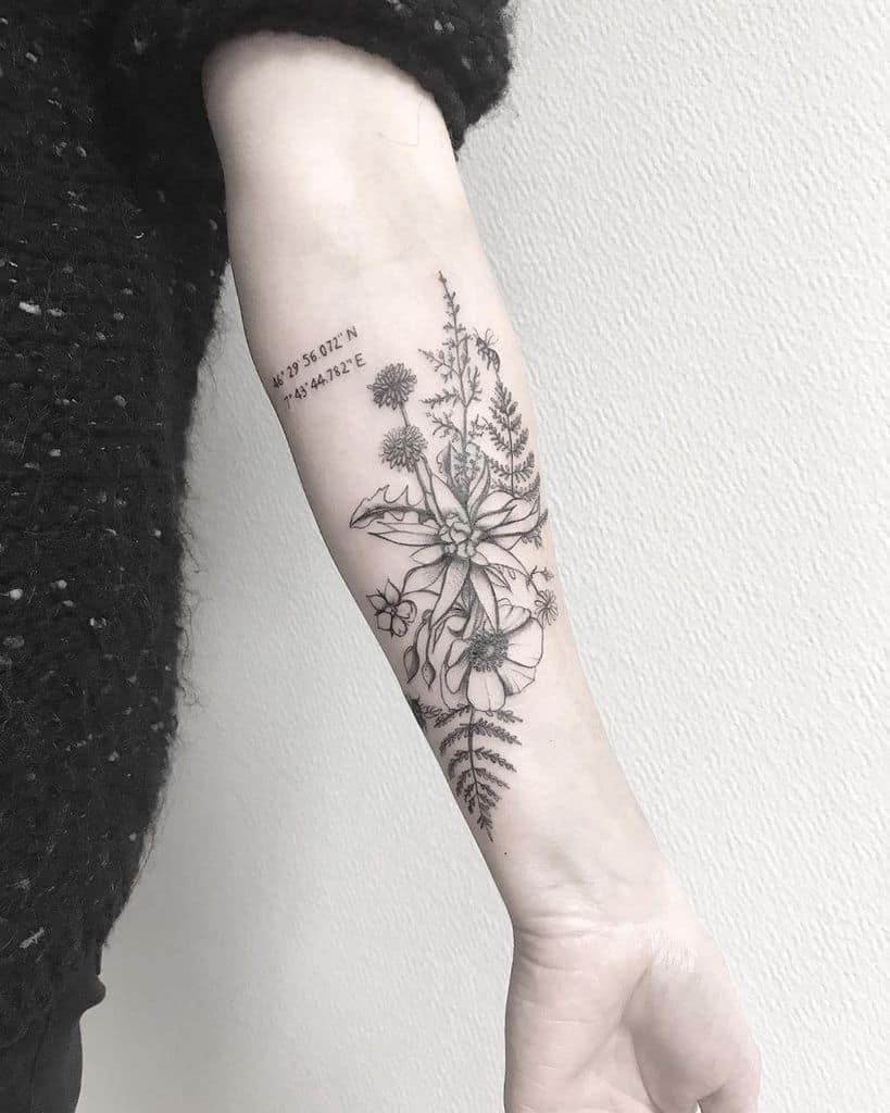 lovely floral dandelion tattoo