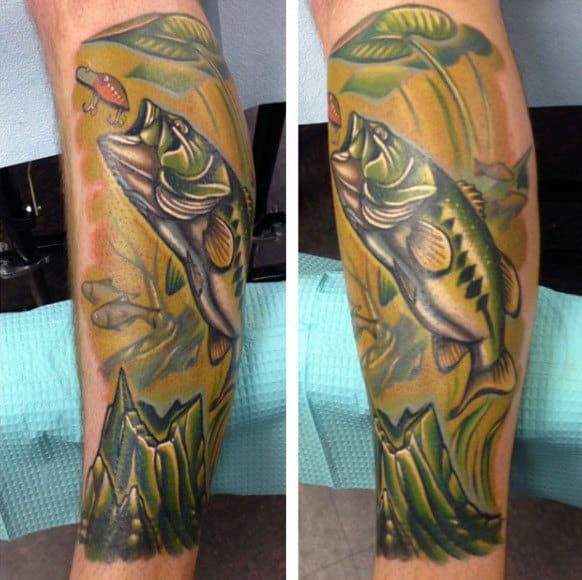 Lovely Green Calf Tattoo Of Man Fishing Bass