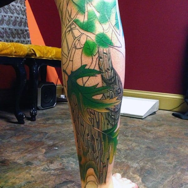 Lovely Green Leaved Oak Tree Leaf Tattoo On Calves For Guys