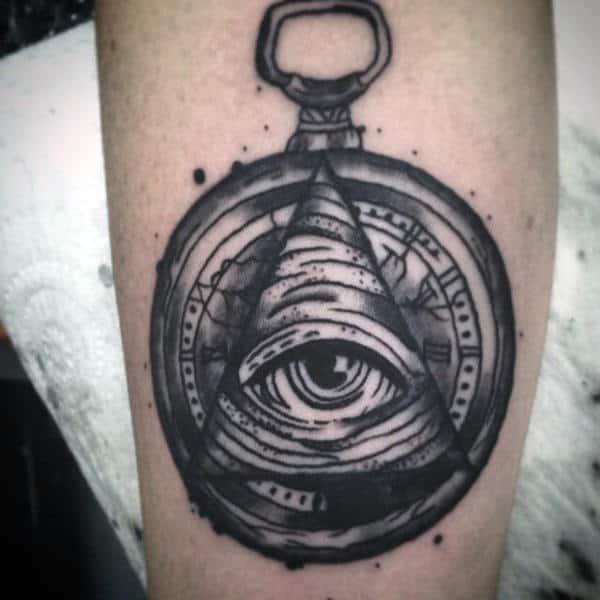 Lovely Grey Illuminati Tattoo Male Forearms