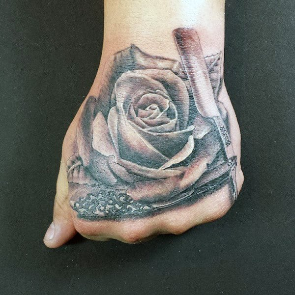 Lovely Grey Rose And Straight Razor Tattoo Male Hands