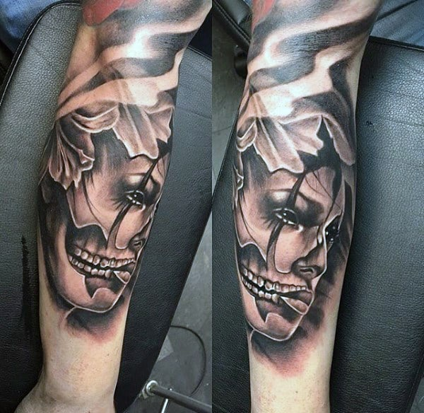 Lovely Mens Forearms Day Of The Dead Tattoo