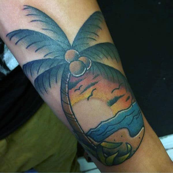 Lovely Palm Tree On Seashore Tattoo For Guys On Arms