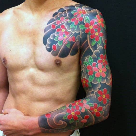 Lovely Red Flowers Japanese Sleeve Tattoo For Men