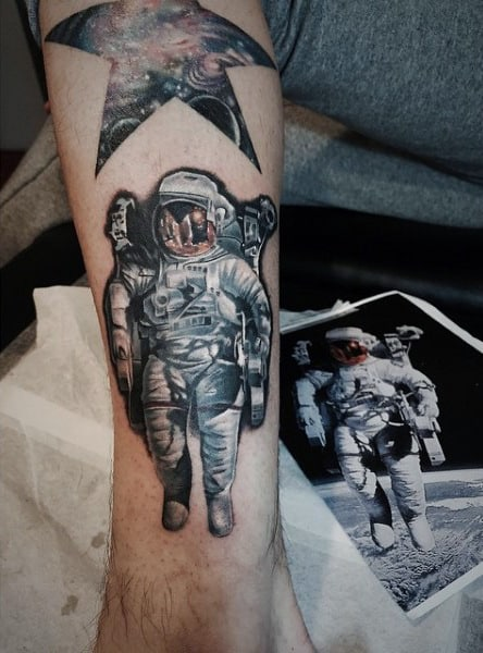 Lovely Star And Astronaut Tattoo Mens Calves