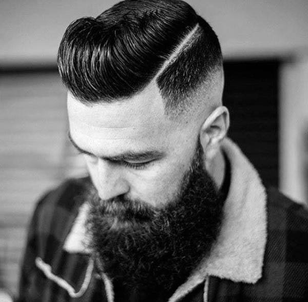 Low Fade Hard Part Hairstyle For Men With Thick Hair