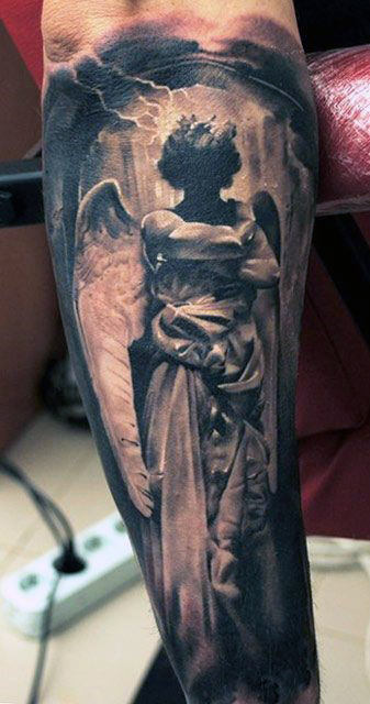Lower Arm Angel Tattoo Designs For Men