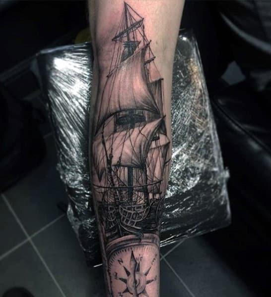 Lower Arm Sleeve Guys Nautical Ship And Compass Tattoos
