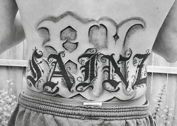 Lower Back Male Old English Text Tattoos