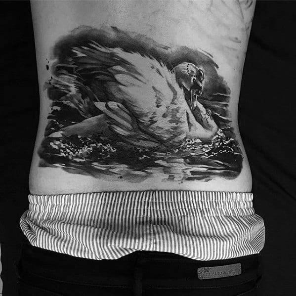 Lower Back Male Swan Tattoo Design Inspiration