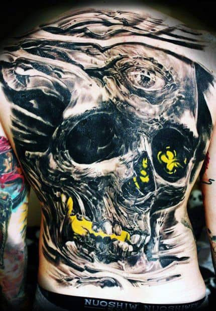 Skull Lower Back Tattoos For Men