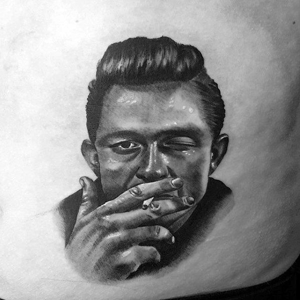 Lower Chest Mens Johnny Cash Tattoo Ideas