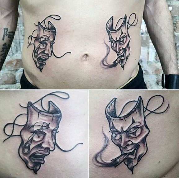 Lower Chest Stomach Drama Mask Tattoos For Gentlemen