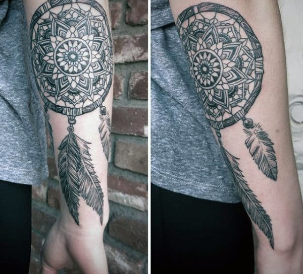Lower Forearm Dreamcatcher Traditional Tattoo Guys Design