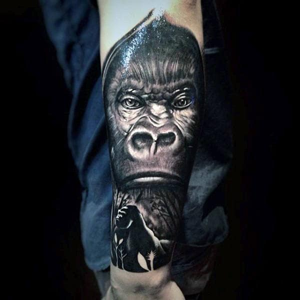 Lower Forearm Half Sleeve Gorilla Male Tattoo