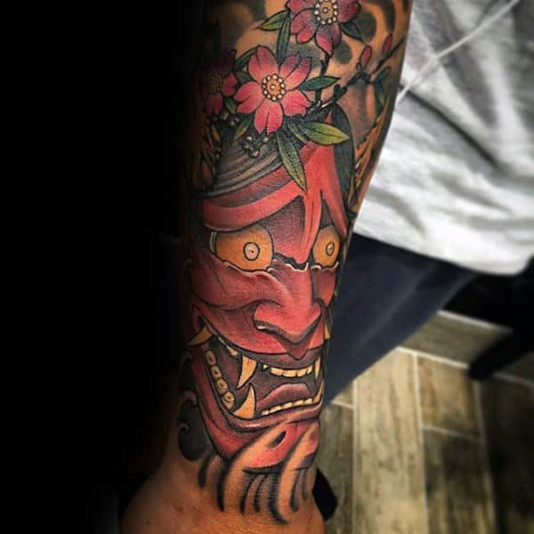 Lower Forearm Hannya Mask Male Tattoo Ideas