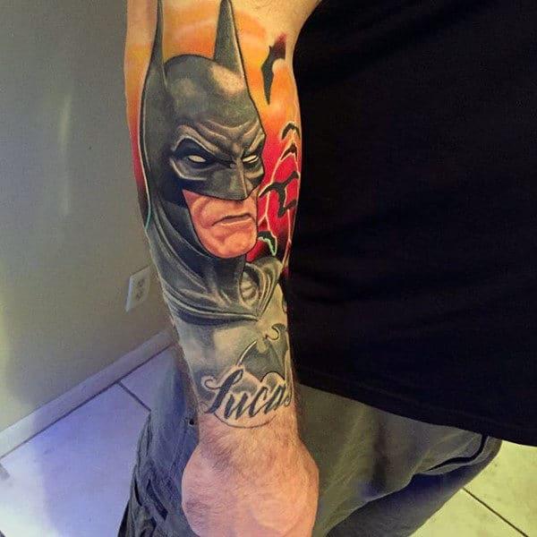 Lower Forearm Male Tattoo Of Batman