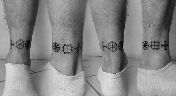 Lower Leg Band Guys Symbols Tattoo Designs