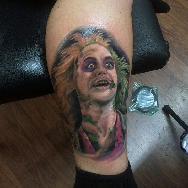 Lower Leg Beetlejuice Portrait Tattoo Ideas For Guys