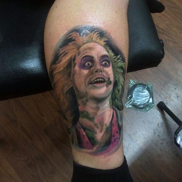 Lower Leg Beetlejuice Portrait Tattoo Ideas For Guys