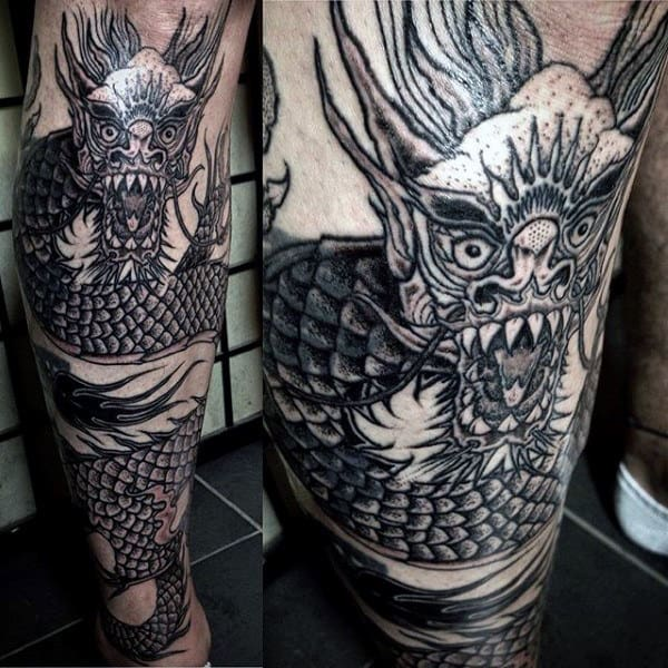 Lower Leg Black Ink Chinese Dragon Tattoo On Gentleman