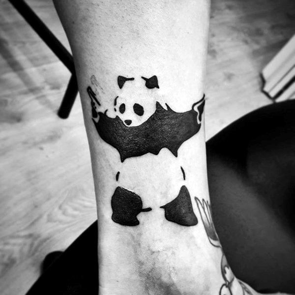 Lower Leg Black Ink Gun Panda Banksy Mens Tattoos
