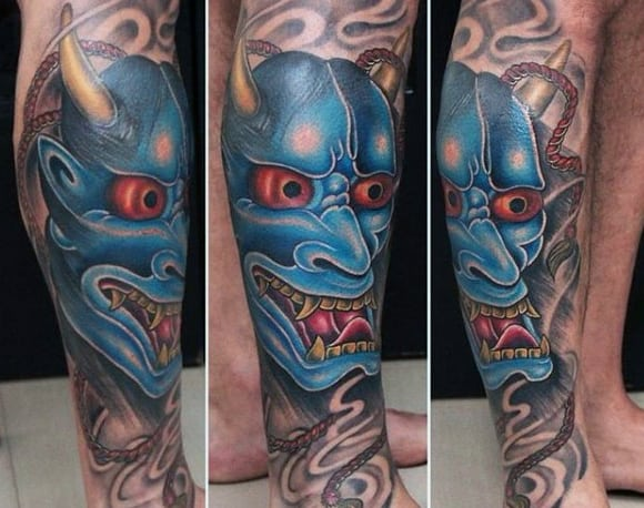 Lower Leg Blue Ink Hannya Mask Male Tattoos