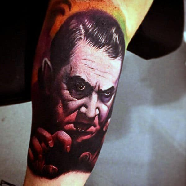 Lower Leg Calf Vampire Tattoo Ideas For Males