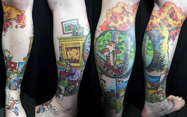 Lower Leg Calvin And Hobbes Comic Tattoos For Males