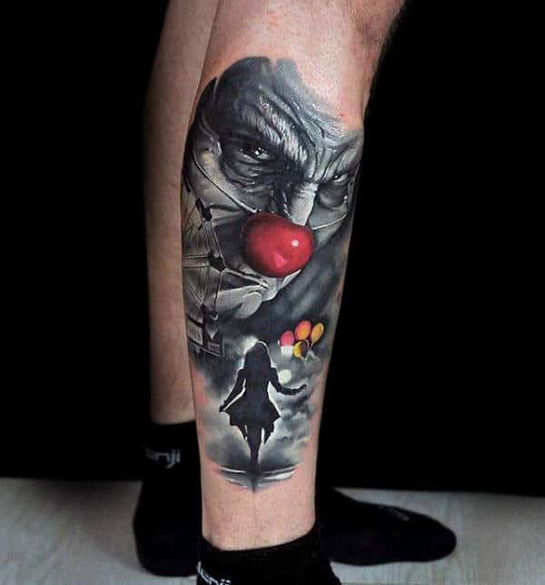 Lower Leg Clown Circus Themed Mens Tattoos