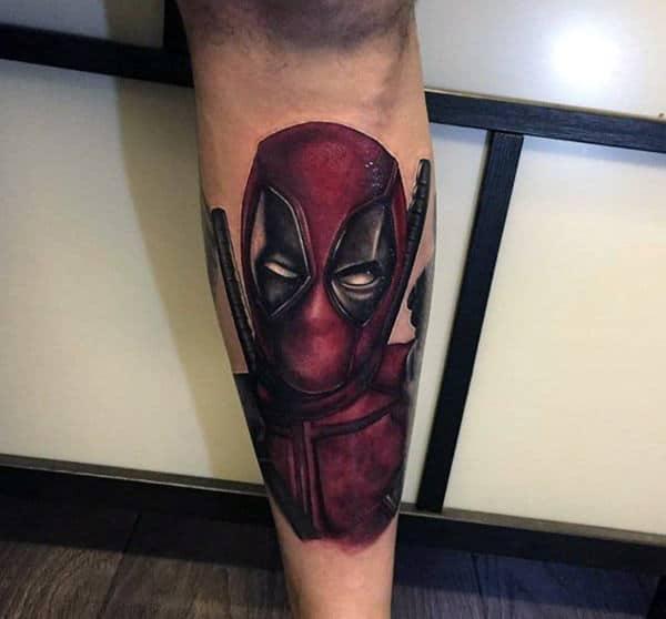 Lower Leg Dark Black And Red Ink Deadpool Tattoo On Gentleman