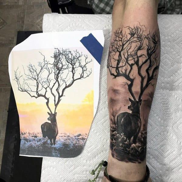 Lower Leg Deer Hunting Tattoo For Guys