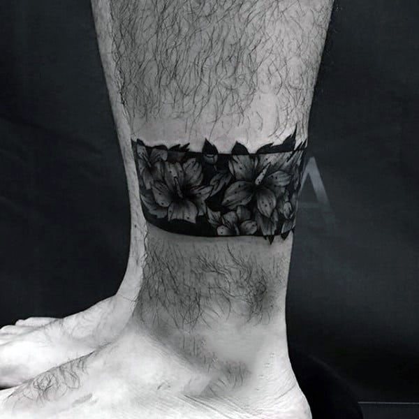 Tattoo Leg Man Rose Flower Black And White: 50 Black Band Tattoo Designs For Men