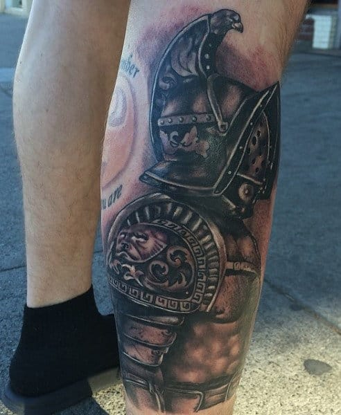 Lower Leg Gladiator Tattoo Designs For Men