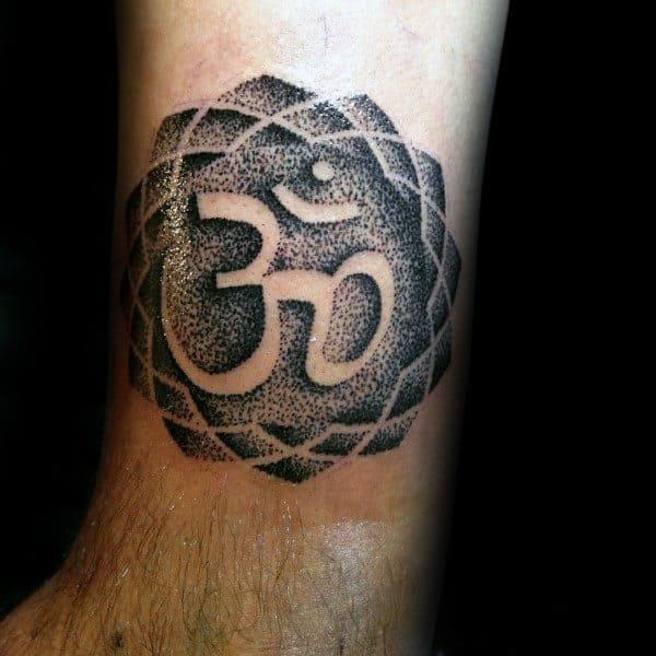 Lower Leg Guys Dotwork Negative Space Om Tattoos