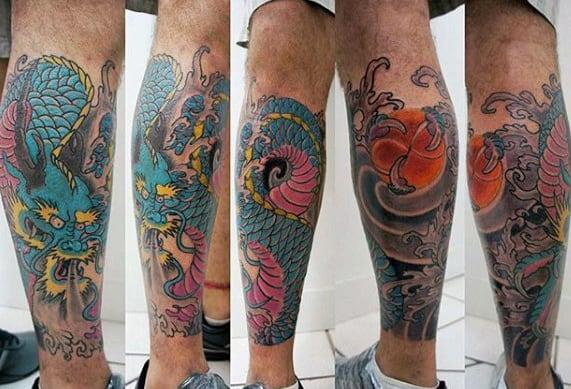 Lower Leg Guys Dragon Tattoos