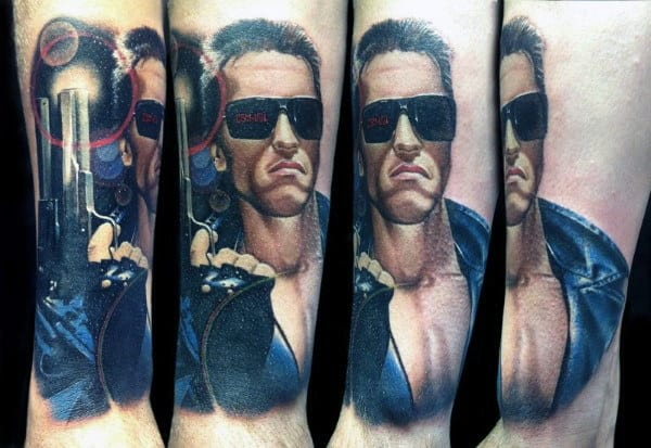 Lower Leg Guys Realistic Terminator Tattoos